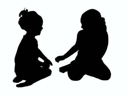 playing children silhouette Stock Photo - 13125729