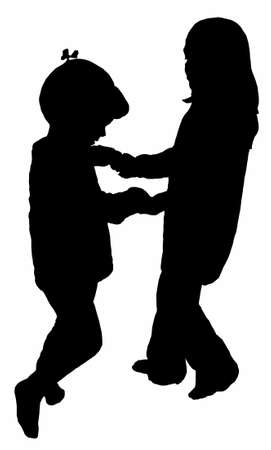playing children silhouette  Stock Photo - 13125707