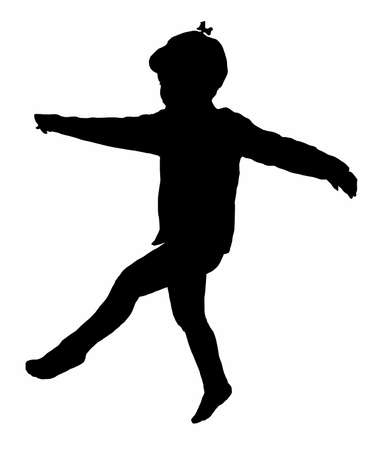 playing child silhouette  photo