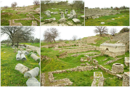 troya: Collage,Ruins of ancient troia city, Canakkale (Dardanelles)  Turkey