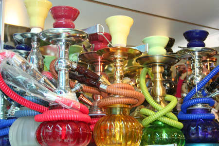 Traditional turkish objects as souvenirs on display at a touristic street market in Istanbul