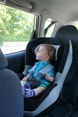 baby in car safety Stock Photo