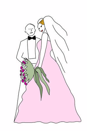 getting married: couple getting married illustration