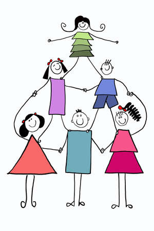 children in pyramid Vector