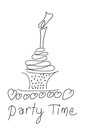 birthday cake sketch Vector