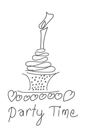 invito compleanno: torta di compleanno schizzo
