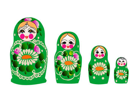 Matryoshka doll in Russian nested doll, Babushka doll, Russian Souvenir,  Stock Vector - 15036572