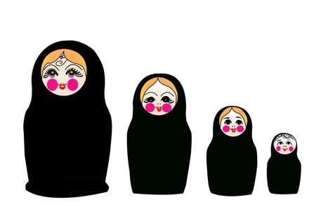converted: matrushka converted to islam, in black chador,  Illustration