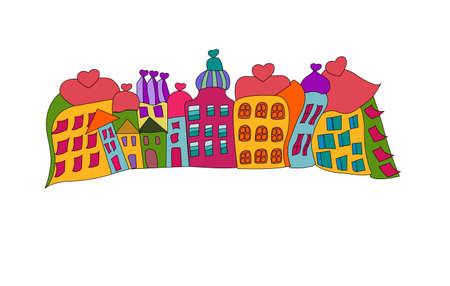 european cities: funny prague houses Illustration