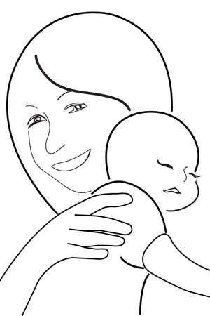 born saint: mother and child, vector sketch in black lines