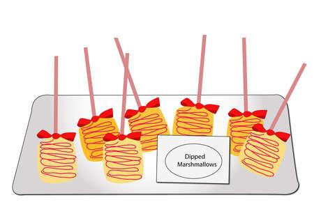 marshmallows: dipped marshmallows vector Illustration