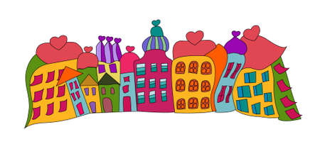 funny prague houses vector over white, resized Stock Vector - 15692739