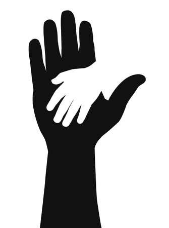 Dzieci: sylwetka ręki Ilustracja