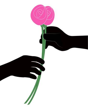 hand giving flower vector Vector