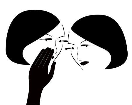 whispering: gossip girls vector  Illustration