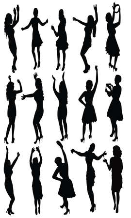dancing girls, vector Stock Vector - 17766299