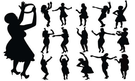 dancing girls, vector Stock Vector - 17766298