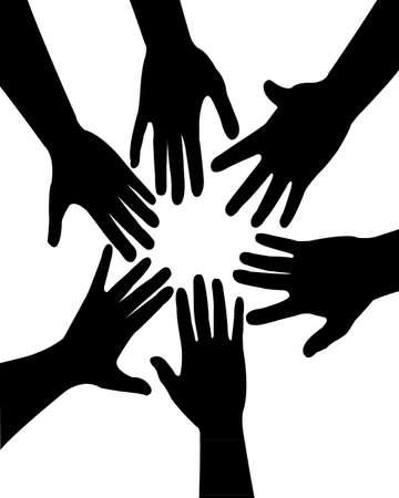 mani unite: mani insieme, vettore