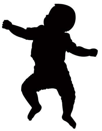 Baby Silhouette, flach auf dem Rücken, Vektor