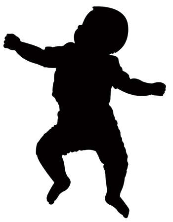 black baby boy: baby silhouette, flat on his back, vector Illustration