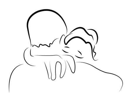 couple back to back: I miss you Illustration