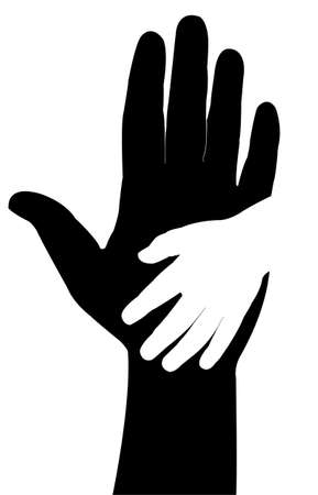 old hand: Helping hands  Vector illustration on black background