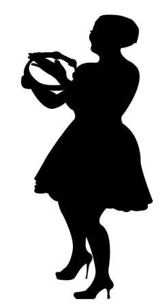 tambourine: playing tambourine and dancing, vector