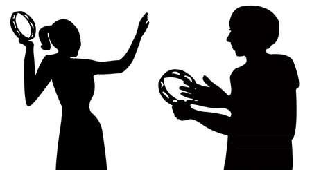 tambourine: two girls playing tambourine and dancing, vector