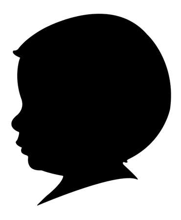 black baby boy: a two years old baby boy head silhouette Illustration