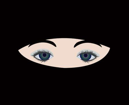 veiled: muslim girl under veil  Illustration