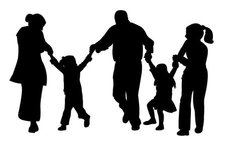 having fun: family with tree children having fun,playing, running, silhouette vector
