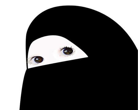 veiled: little girl looking under veil Illustration
