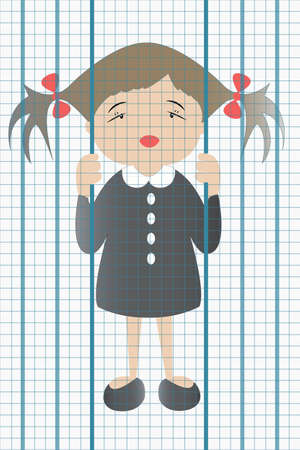 student feel herself like in prison on squared notebook page Vector