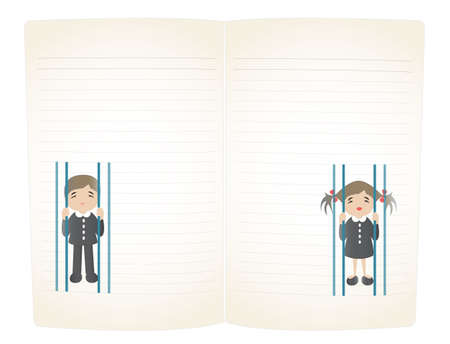 students feel hiself like in prison on notebook page Stock Vector - 18347418