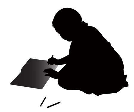 cute girl studying silhouette vector Stock Vector - 18347422