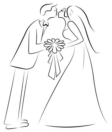 just married couple vector Vector