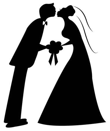 just married: pareja de reci�n casados ??vector