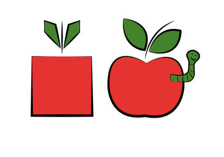 gm: two apples, one is organic other is GMO Illustration