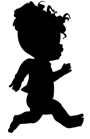 a doll running, silhouette Vector