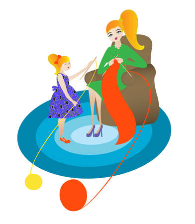 mother and her doughter knitting Illustration