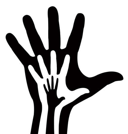 hand in hand vector