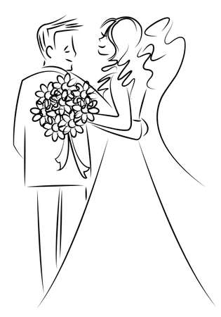 bride and groom: just married couple cartoon  Illustration