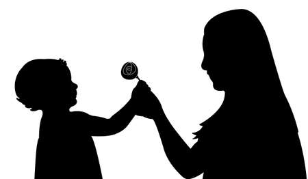girl giving flower to her mom Vector