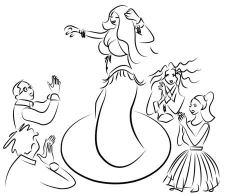 belly dancer performing people and having fun Vector