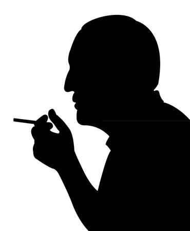 smoking man: smoking man silhouette vector