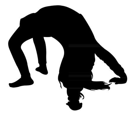 gymnastic girl silhouette Stock Vector - 20369624