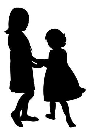 siblings: happy sisters playing