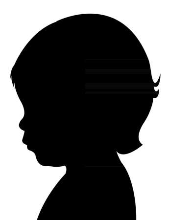 head silhouette: baby girl head silhouette