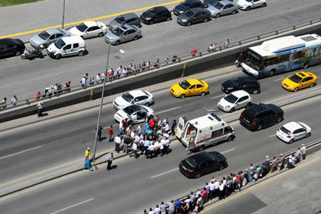 onlooker: first aid at traffic accident occurred in Ankara, Turkey at 24th June 2013 Editorial
