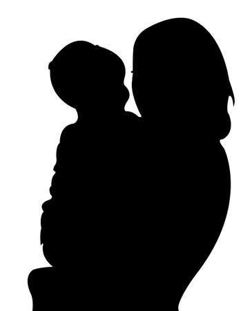 mom and baby silhouette vector Çizim